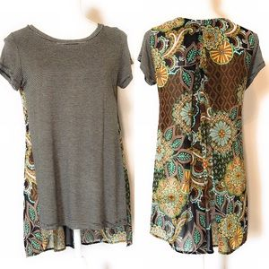 Cha cha vente two sided top, Sz med, short sleeve